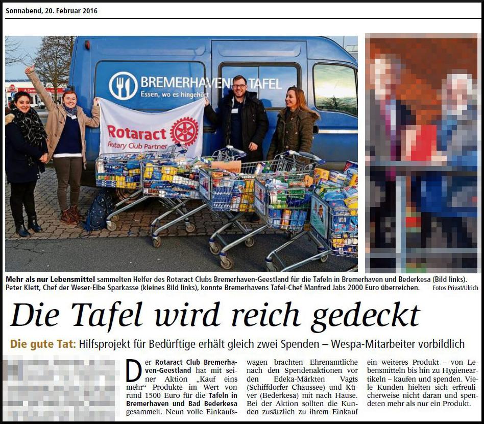 """20.02.2016 Bericht in der Nordsee-Zeitung zur """"Kauf Eins Mehr"""" Aktion"""