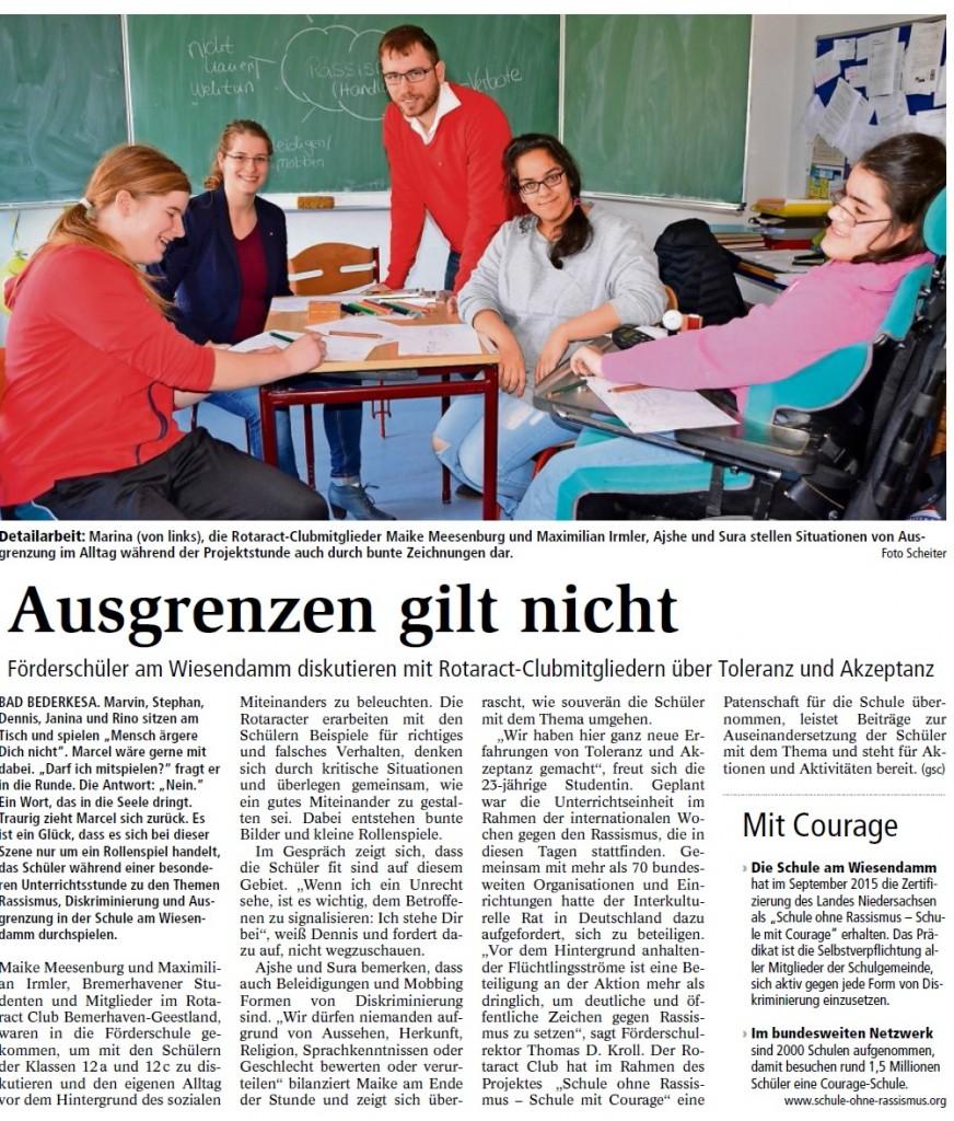 12.03.2016 Nordsee Zeitung Schule am Wiesendamm Unterrichtseinheit