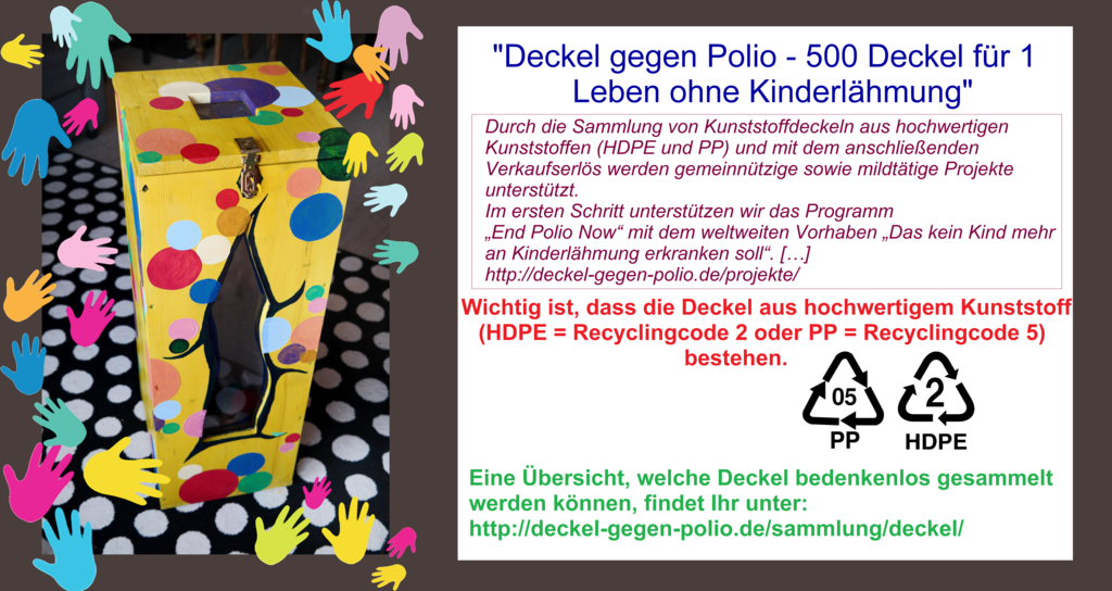 """Unterstützung des Projekts """"Deckel gegen Polio - 500 Deckel für 1 Leben ohne Kinderlähmung"""""""